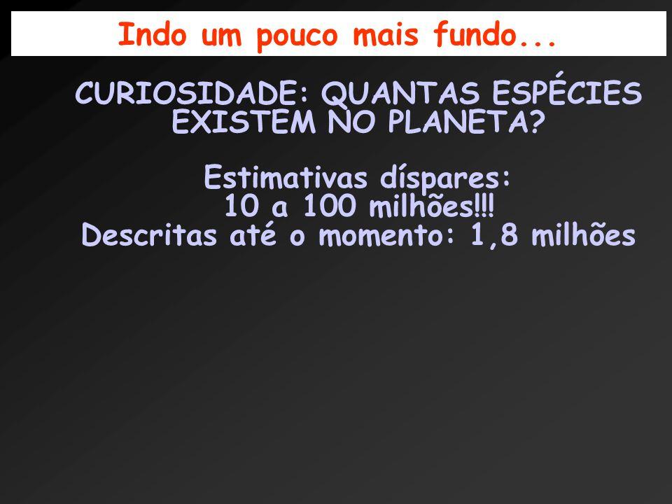 CURIOSIDADE: QUANTAS ESPÉCIES EXISTEM NO PLANETA. Estimativas díspares: 10 a 100 milhões!!.