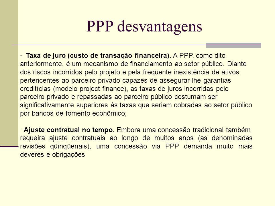 PPP desvantagens · Taxa de juro (custo de transação financeira). A PPP, como dito anteriormente, é um mecanismo de financiamento ao setor público. Dia