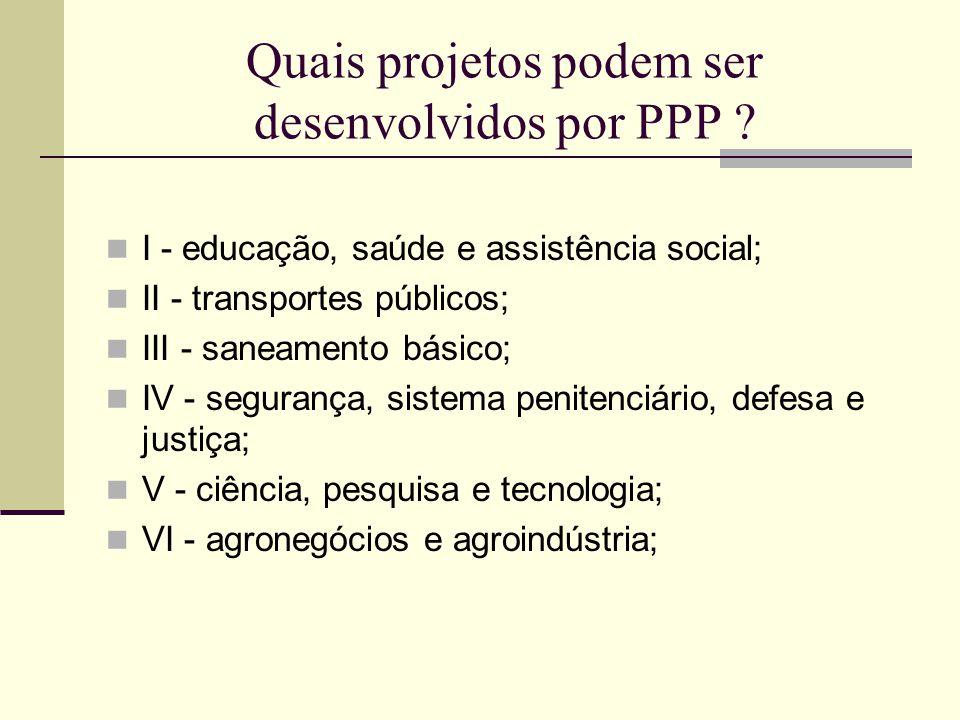 Quais projetos podem ser desenvolvidos por PPP ? I - educação, saúde e assistência social; II - transportes públicos; III - saneamento básico; IV - se