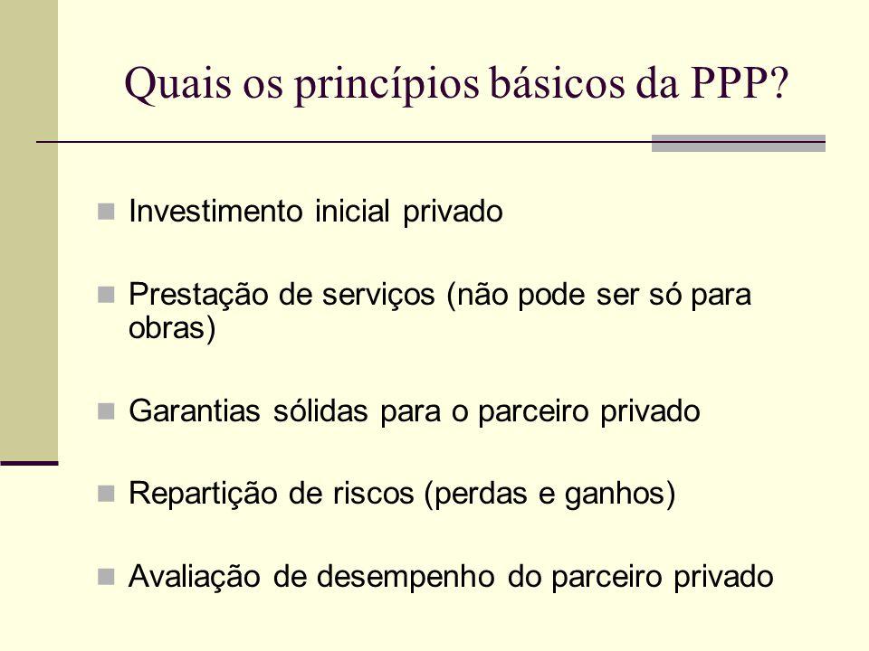 Quais os princípios básicos da PPP? Investimento inicial privado Prestação de serviços (não pode ser só para obras) Garantias sólidas para o parceiro