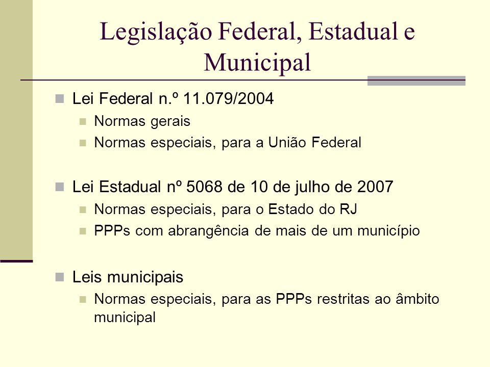 Legislação Federal, Estadual e Municipal Lei Federal n.º 11.079/2004 Normas gerais Normas especiais, para a União Federal Lei Estadual nº 5068 de 10 d