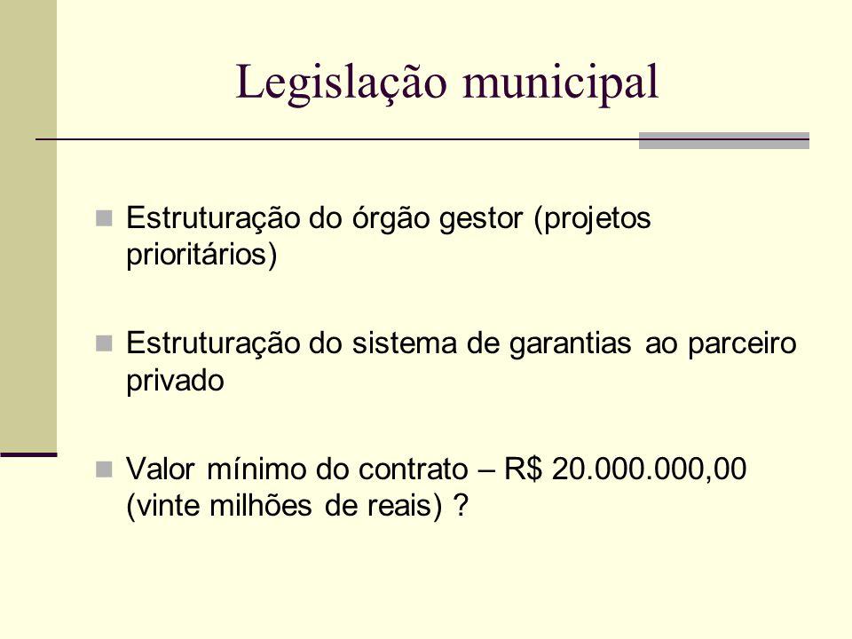 Legislação municipal Estruturação do órgão gestor (projetos prioritários) Estruturação do sistema de garantias ao parceiro privado Valor mínimo do contrato – R$ 20.000.000,00 (vinte milhões de reais) ?
