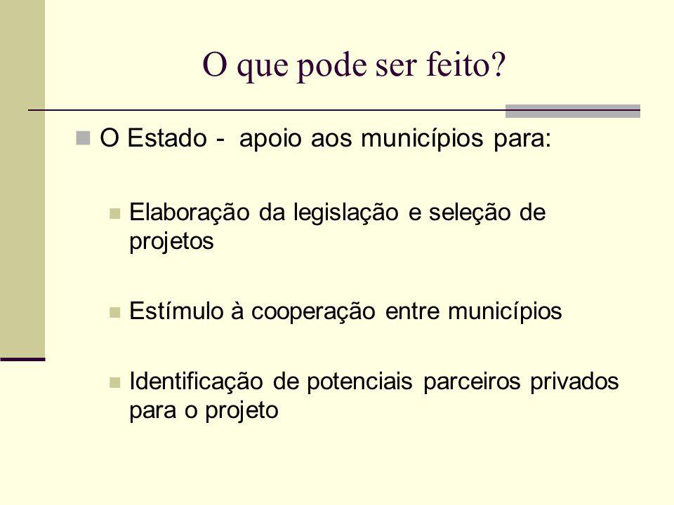 O que pode ser feito? O Estado - apoio aos municípios para: Elaboração da legislação e seleção de projetos Estímulo à cooperação entre municípios Iden