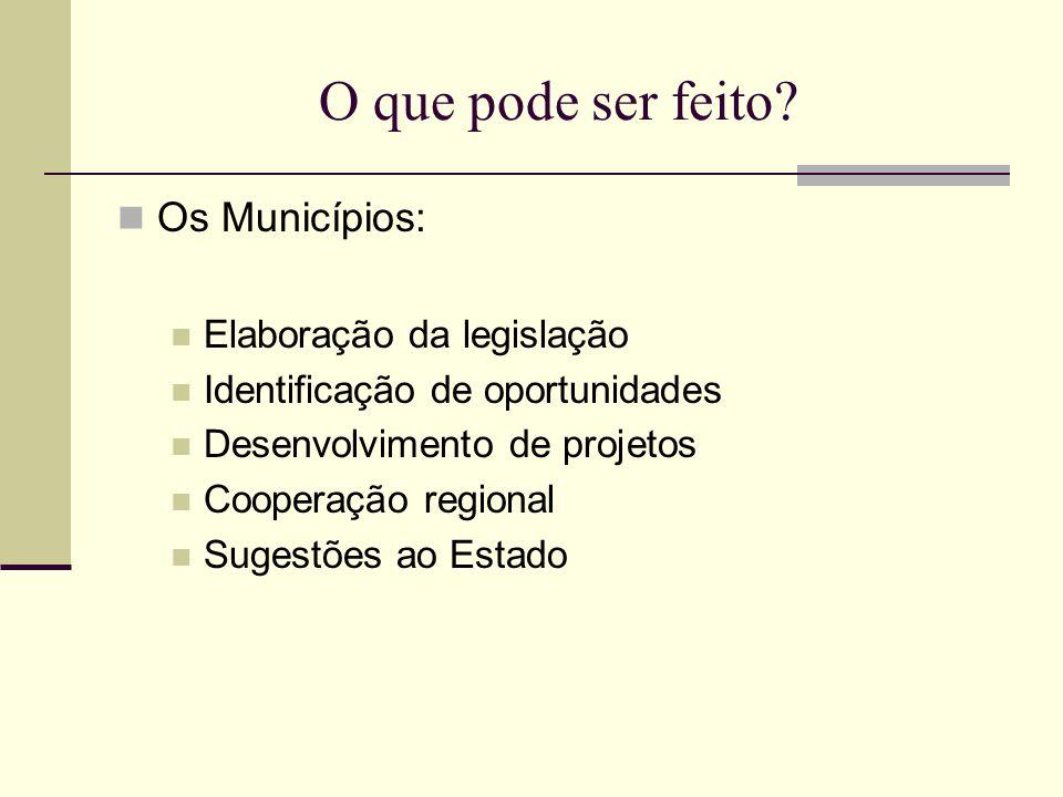 O que pode ser feito? Os Municípios: Elaboração da legislação Identificação de oportunidades Desenvolvimento de projetos Cooperação regional Sugestões