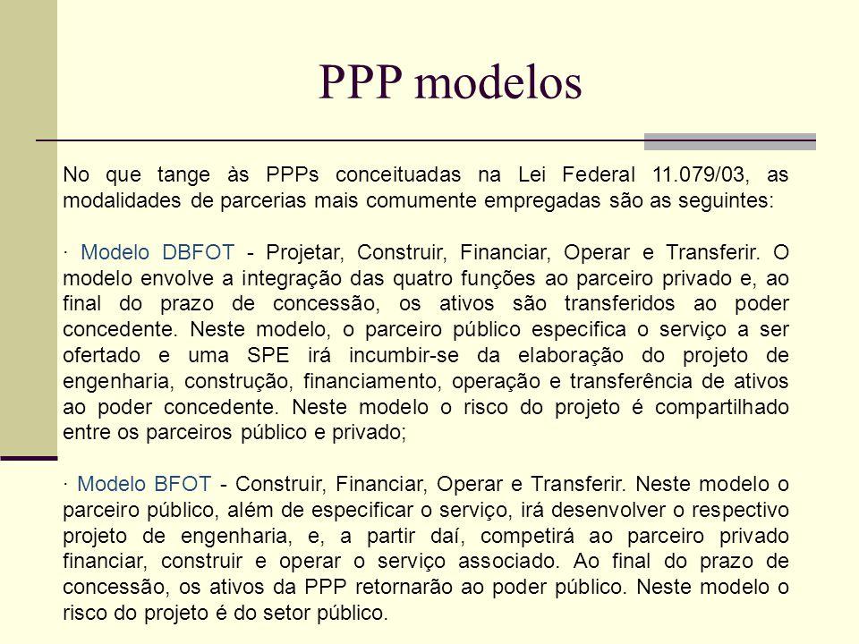 PPP modelos No que tange às PPPs conceituadas na Lei Federal 11.079/03, as modalidades de parcerias mais comumente empregadas são as seguintes: · Modelo DBFOT - Projetar, Construir, Financiar, Operar e Transferir.