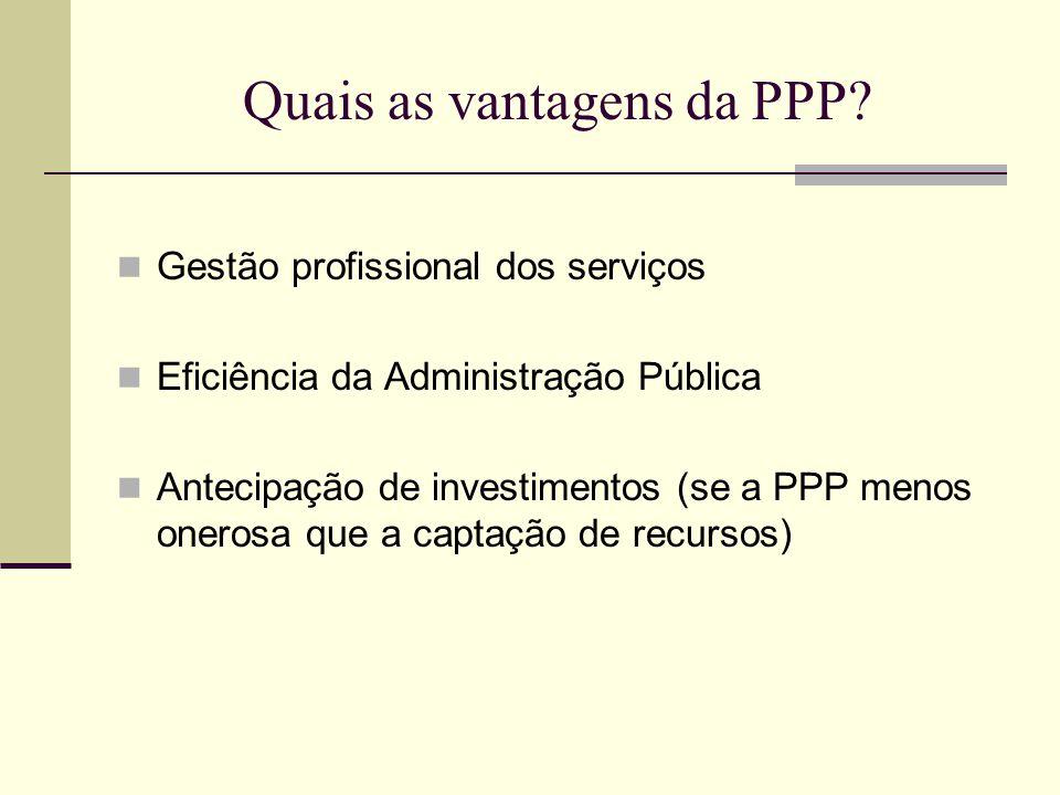 Quais as vantagens da PPP? Gestão profissional dos serviços Eficiência da Administração Pública Antecipação de investimentos (se a PPP menos onerosa q