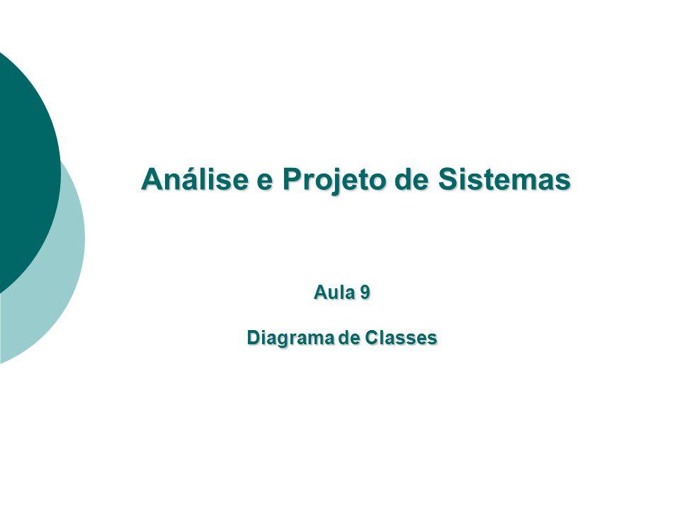Análise e Projeto de Sistemas Análise e Projeto de Sistemas Aula 9 Diagrama de Classes