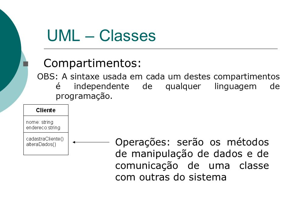 UML – Classes Compartimentos: OBS: A sintaxe usada em cada um destes compartimentos é independente de qualquer linguagem de programação. Operações: se