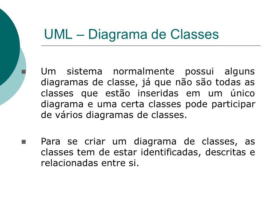 UML – Diagrama de Classes Um sistema normalmente possui alguns diagramas de classe, já que não são todas as classes que estão inseridas em um único di