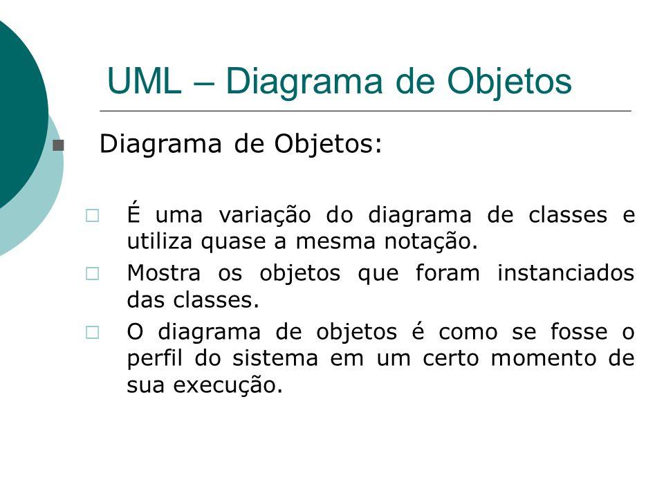 UML – Diagrama de Objetos Diagrama de Objetos:  É uma variação do diagrama de classes e utiliza quase a mesma notação.  Mostra os objetos que foram