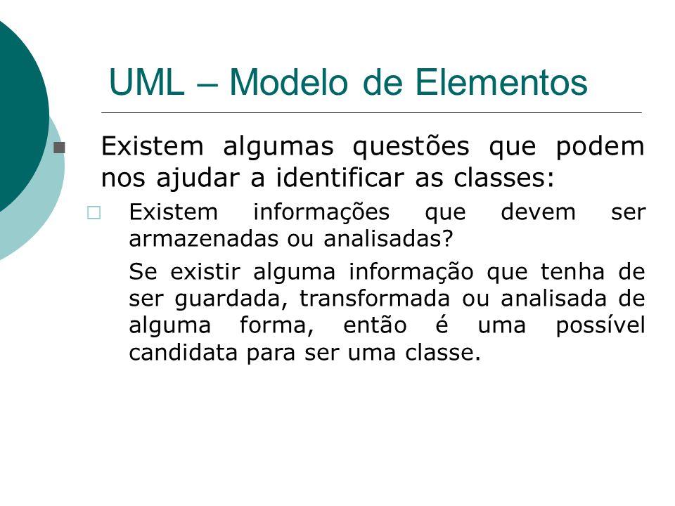 UML – Modelo de Elementos Existem algumas questões que podem nos ajudar a identificar as classes:  Existem informações que devem ser armazenadas ou a