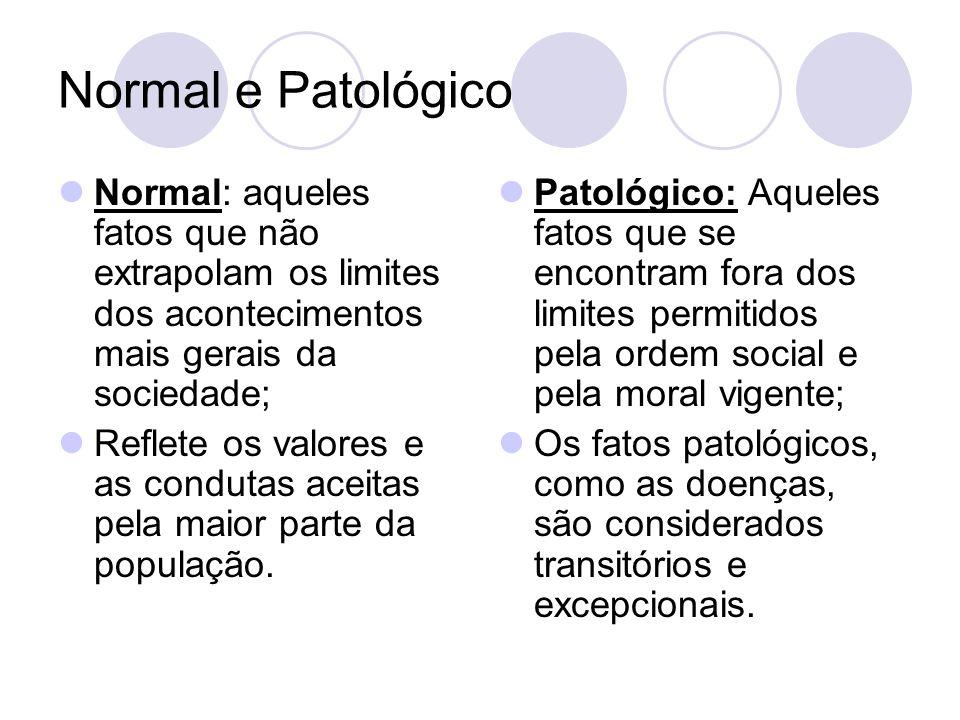 Normal e Patológico Normal: aqueles fatos que não extrapolam os limites dos acontecimentos mais gerais da sociedade; Reflete os valores e as condutas aceitas pela maior parte da população.