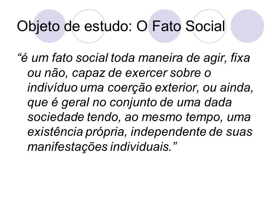 """Objeto de estudo: O Fato Social """"é um fato social toda maneira de agir, fixa ou não, capaz de exercer sobre o indivíduo uma coerção exterior, ou ainda"""