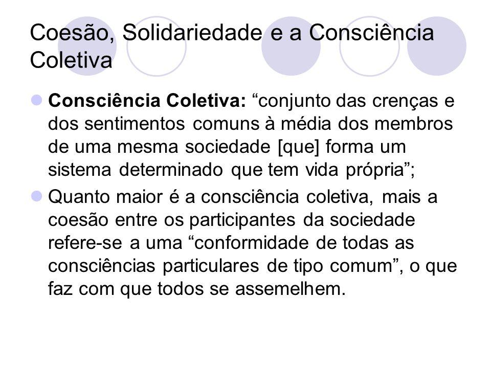 """Coesão, Solidariedade e a Consciência Coletiva Consciência Coletiva: """"conjunto das crenças e dos sentimentos comuns à média dos membros de uma mesma s"""