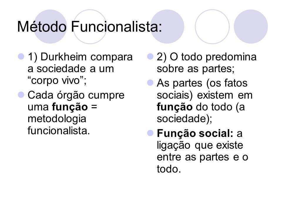 Método Funcionalista: 1) Durkheim compara a sociedade a um corpo vivo ; Cada órgão cumpre uma função = metodologia funcionalista.