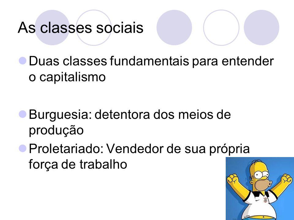As classes sociais Duas classes fundamentais para entender o capitalismo Burguesia: detentora dos meios de produção Proletariado: Vendedor de sua própria força de trabalho