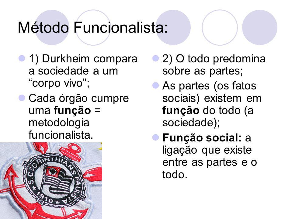 """Método Funcionalista: 1) Durkheim compara a sociedade a um """"corpo vivo""""; Cada órgão cumpre uma função = metodologia funcionalista. 2) O todo predomina"""
