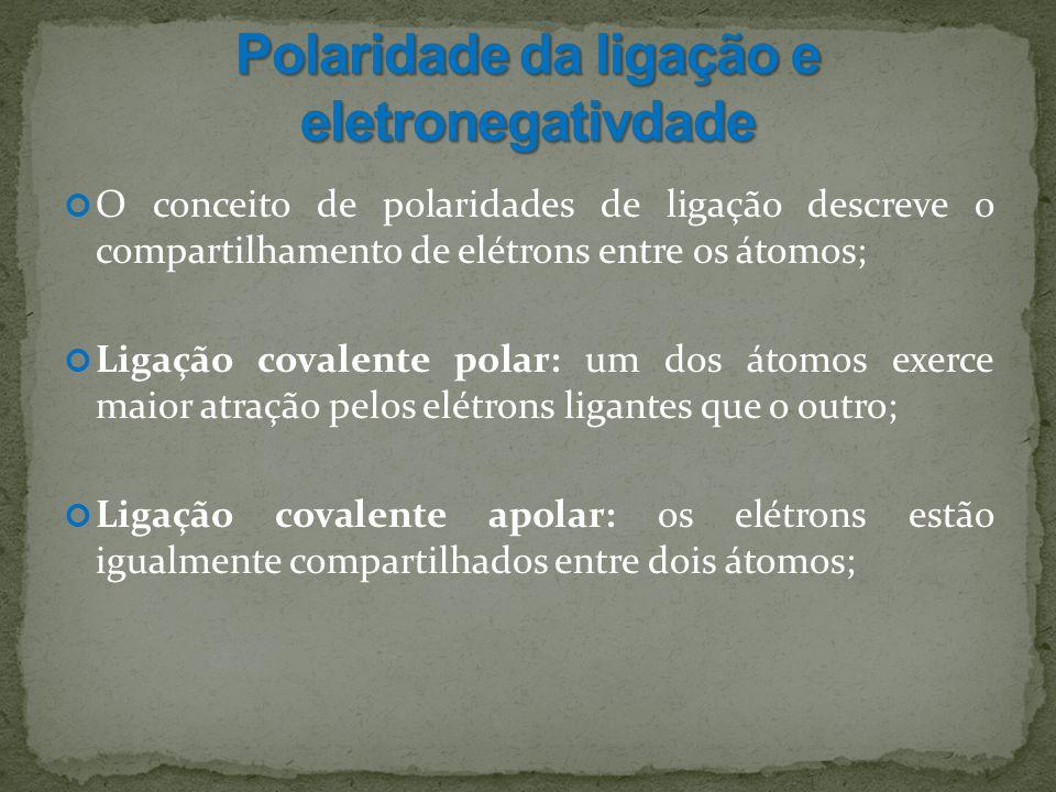 O conceito de polaridades de ligação descreve o compartilhamento de elétrons entre os átomos; Ligação covalente polar: um dos átomos exerce maior atração pelos elétrons ligantes que o outro; Ligação covalente apolar: os elétrons estão igualmente compartilhados entre dois átomos;