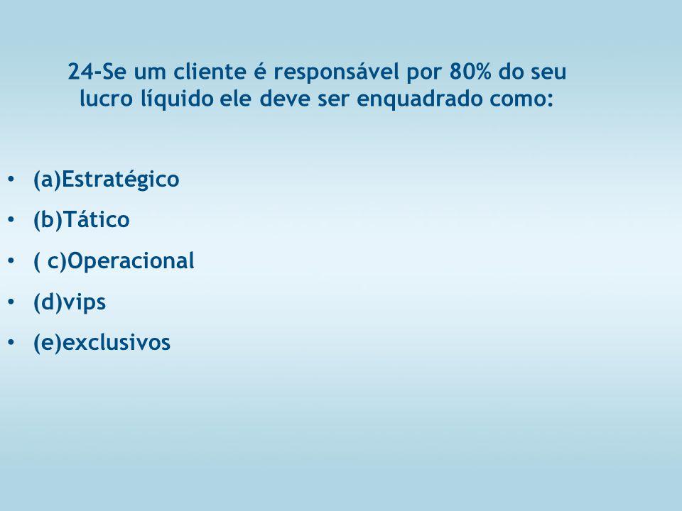 24-Se um cliente é responsável por 80% do seu lucro líquido ele deve ser enquadrado como: (a)Estratégico (b)Tático ( c)Operacional (d)vips (e)exclusivos