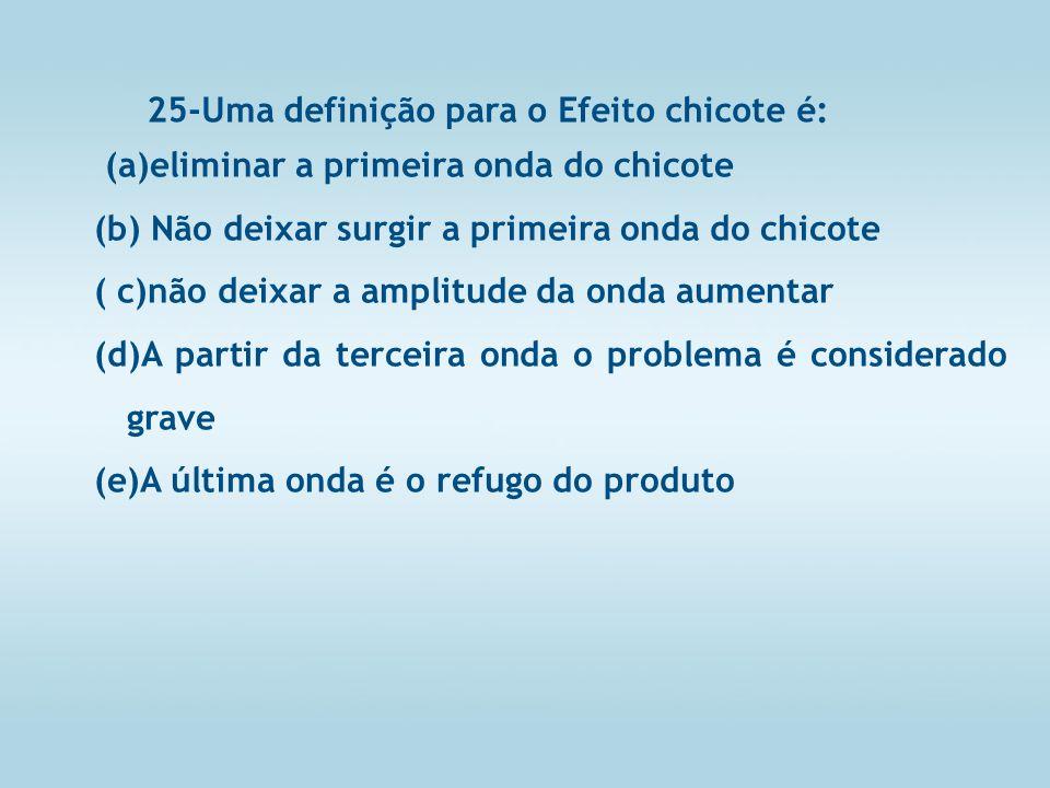 25-Uma definição para o Efeito chicote é: (a)eliminar a primeira onda do chicote (b) Não deixar surgir a primeira onda do chicote ( c)não deixar a amplitude da onda aumentar (d)A partir da terceira onda o problema é considerado grave (e)A última onda é o refugo do produto