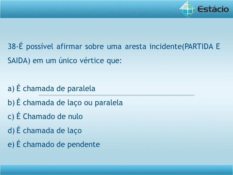 38-É possível afirmar sobre uma aresta incidente(PARTIDA E SAIDA) em um único vértice que: a)É chamada de paralela b)É chamada de laço ou paralela c)É Chamado de nulo d)É chamada de laço e)É chamado de pendente