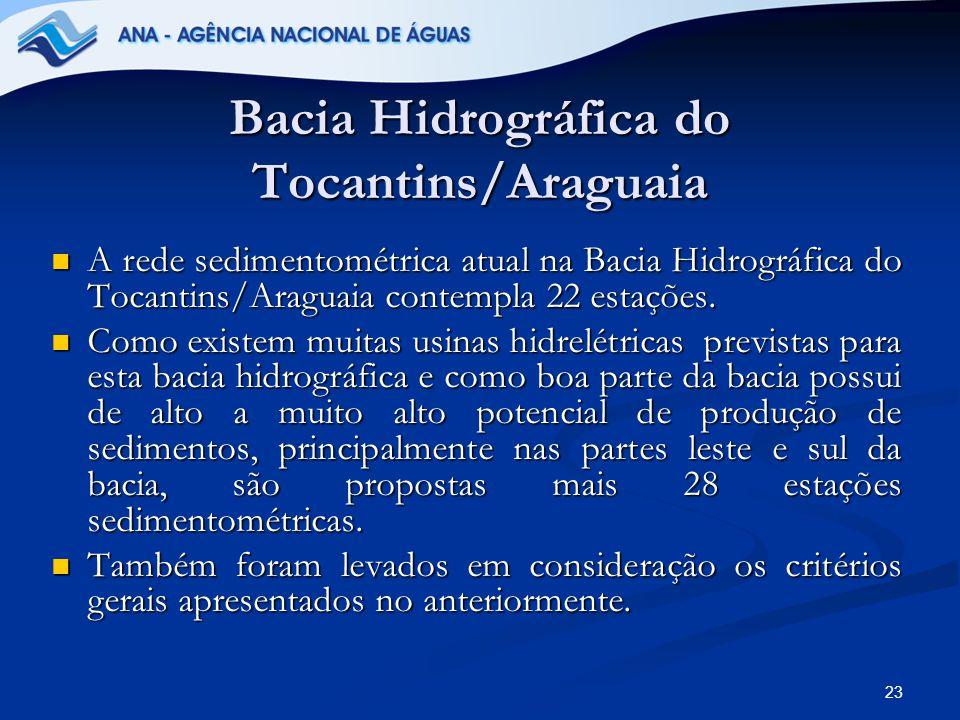 23 Bacia Hidrográfica do Tocantins/Araguaia A rede sedimentométrica atual na Bacia Hidrográfica do Tocantins/Araguaia contempla 22 estações. A rede se