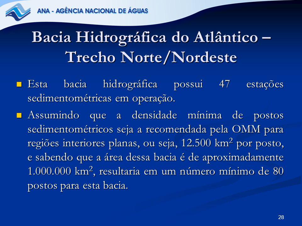 28 Bacia Hidrográfica do Atlântico – Trecho Norte/Nordeste Esta bacia hidrográfica possui 47 estações sedimentométricas em operação. Esta bacia hidrog