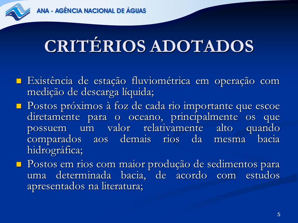 16 Bacia Hidrográfica Amazônica A rede sedimentométrica da Bacia Hidrográfica Amazônica possui atualmente 56 postos em operação.