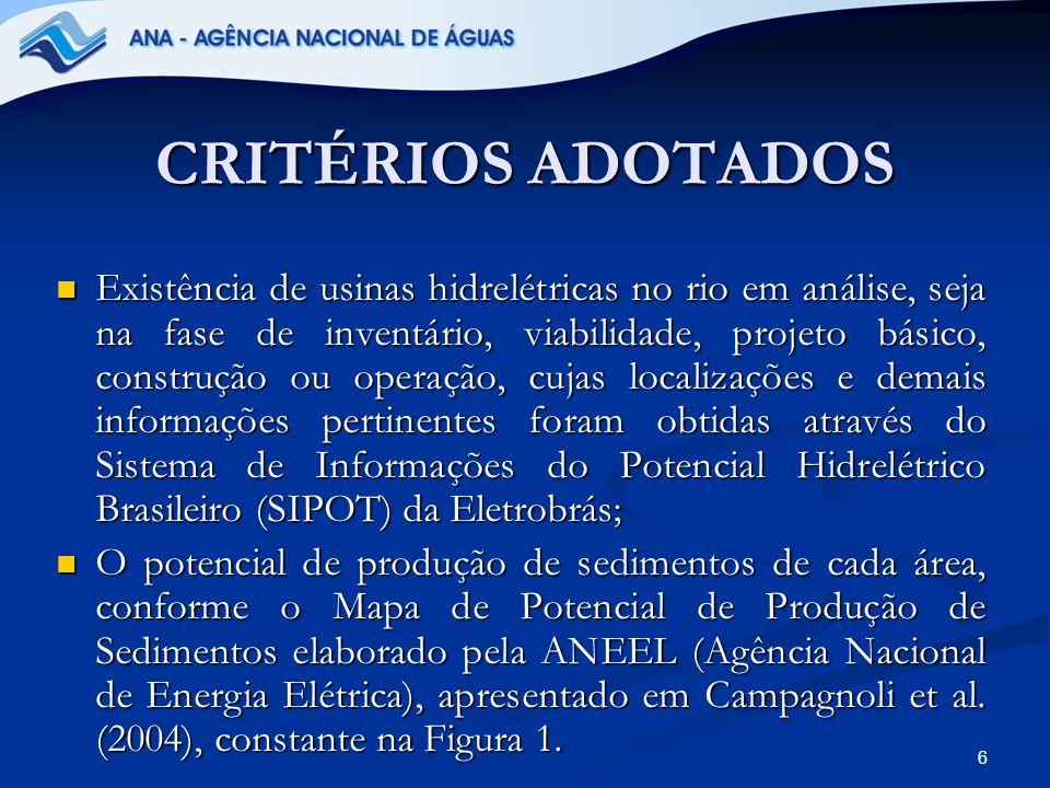 7 CRITÉRIOS ADOTADOS Atlas de Energia Elétrica do Brasil – ANEEL (2005), onde são apresentadas informações sobre o Potencial Hidrelétrico Brasileiro, Capacidade Instalada, Centrais Hidrelétricas em Operação no País e Futuros Projetos Hidrelétricos no Brasil, inclusive com a localização dos empreendimentos hidrelétricos em operação e previstos para serem instalados no Brasil.