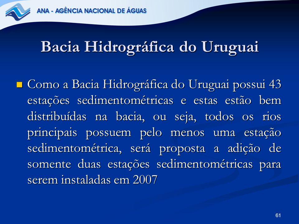 61 Bacia Hidrográfica do Uruguai Como a Bacia Hidrográfica do Uruguai possui 43 estações sedimentométricas e estas estão bem distribuídas na bacia, ou