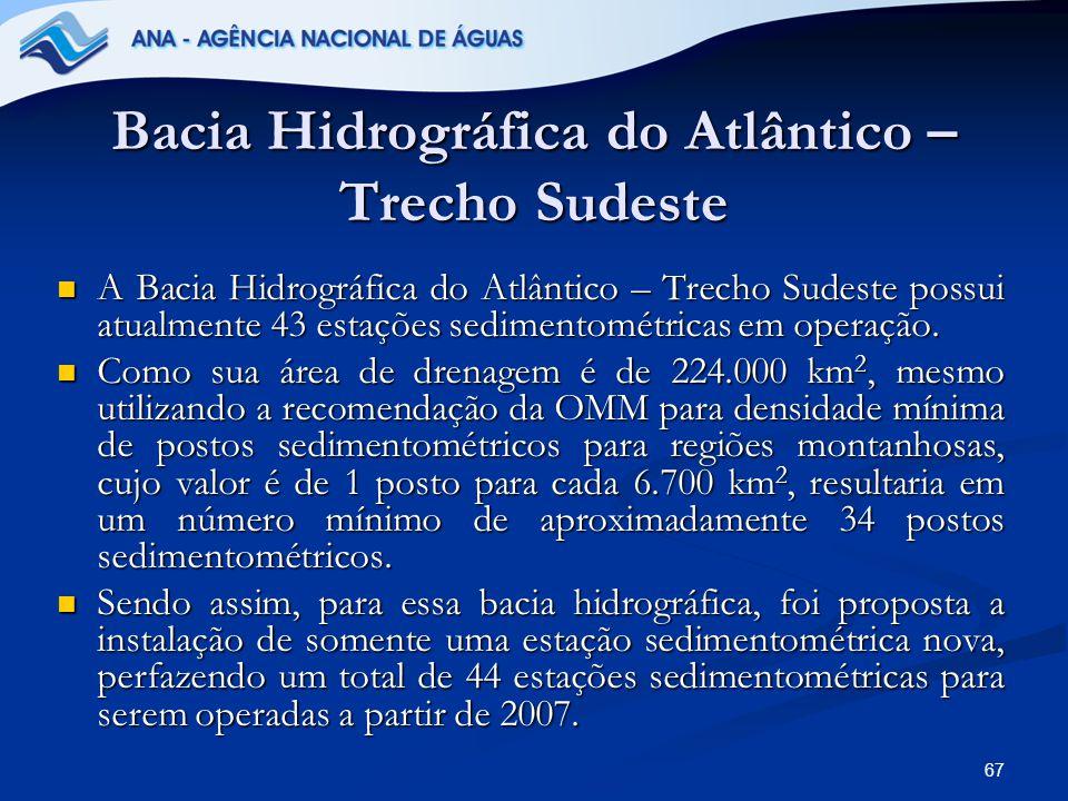 67 Bacia Hidrográfica do Atlântico – Trecho Sudeste A Bacia Hidrográfica do Atlântico – Trecho Sudeste possui atualmente 43 estações sedimentométricas