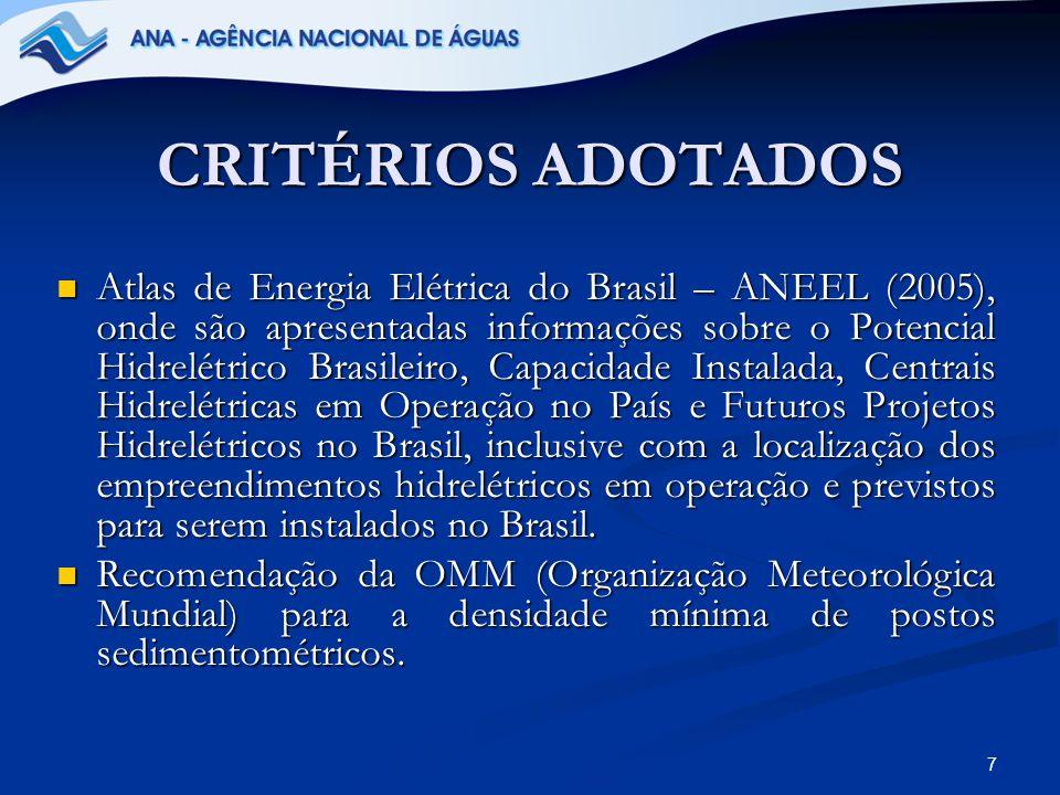 7 CRITÉRIOS ADOTADOS Atlas de Energia Elétrica do Brasil – ANEEL (2005), onde são apresentadas informações sobre o Potencial Hidrelétrico Brasileiro,