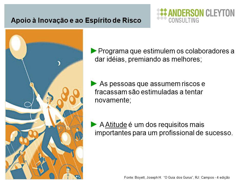 """Fonte: Boyett, Joseph H. """"O Guia dos Gurus"""", RJ: Campos - 4 edição Apoio à Inovação e ao Espírito de Risco ► Programa que estimulem os colaboradores a"""