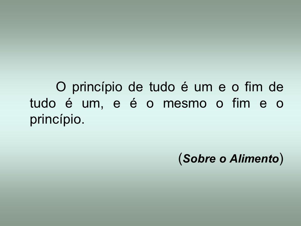O princípio de tudo é um e o fim de tudo é um, e é o mesmo o fim e o princípio.