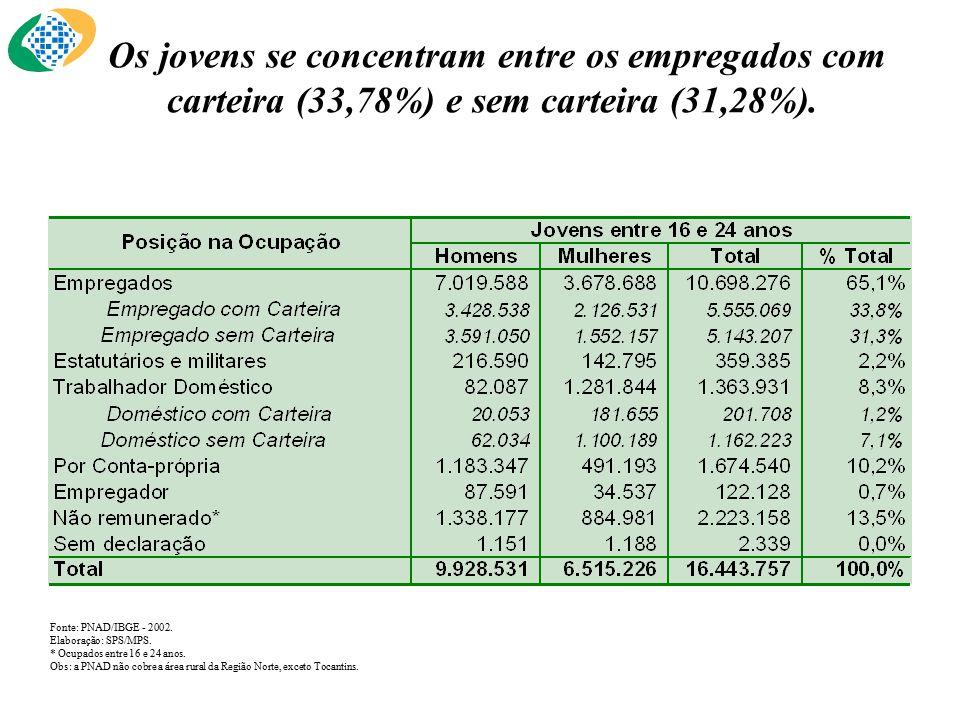 Os jovens se concentram entre os empregados com carteira (33,78%) e sem carteira (31,28%).