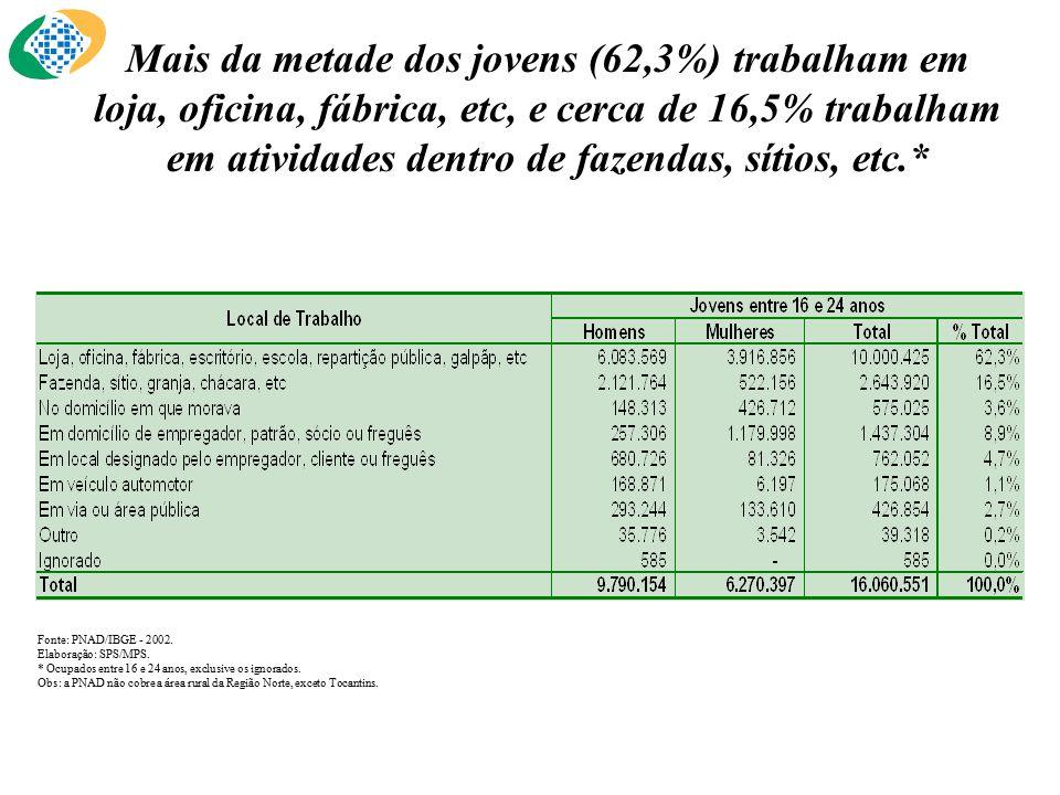 Mais da metade dos jovens (62,3%) trabalham em loja, oficina, fábrica, etc, e cerca de 16,5% trabalham em atividades dentro de fazendas, sítios, etc.* Fonte: PNAD/IBGE - 2002.