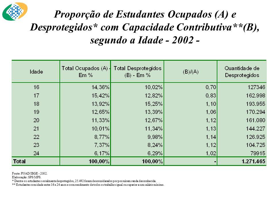 Fonte: PNAD/IBGE - 2002. Elaboração: SPS/MPS.