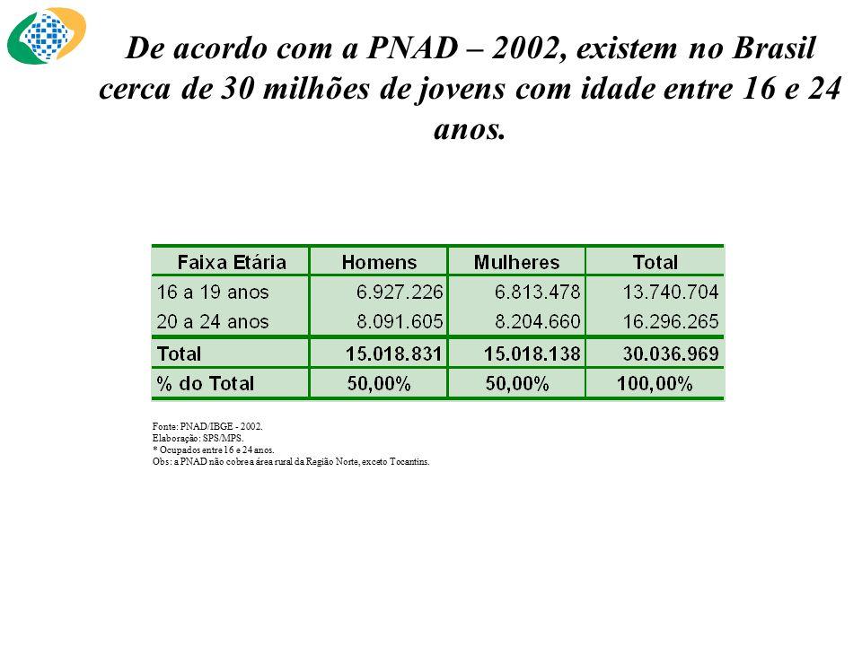 De acordo com a PNAD – 2002, existem no Brasil cerca de 30 milhões de jovens com idade entre 16 e 24 anos.