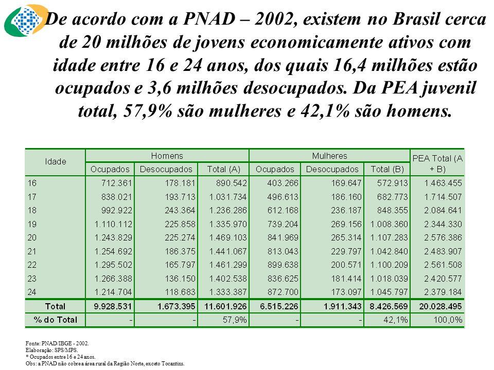 De acordo com a PNAD – 2002, existem no Brasil cerca de 20 milhões de jovens economicamente ativos com idade entre 16 e 24 anos, dos quais 16,4 milhões estão ocupados e 3,6 milhões desocupados.