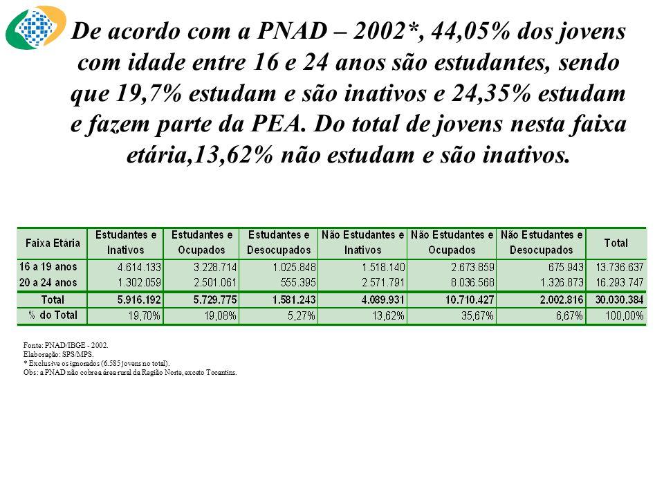 Fonte: PNAD/IBGE - 2002. Elaboração: SPS/MPS. * Exclusive os ignorados (6.585 jovens no total).