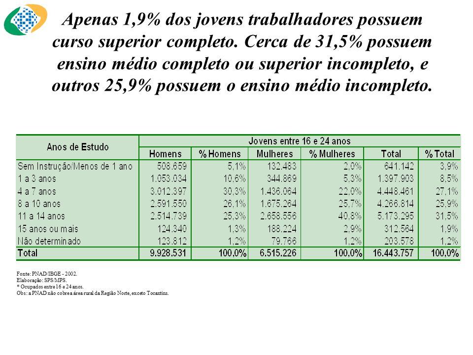 Fonte: PNAD/IBGE - 2002.Elaboração: SPS/MPS. * Ocupados entre 16 e 24 anos.