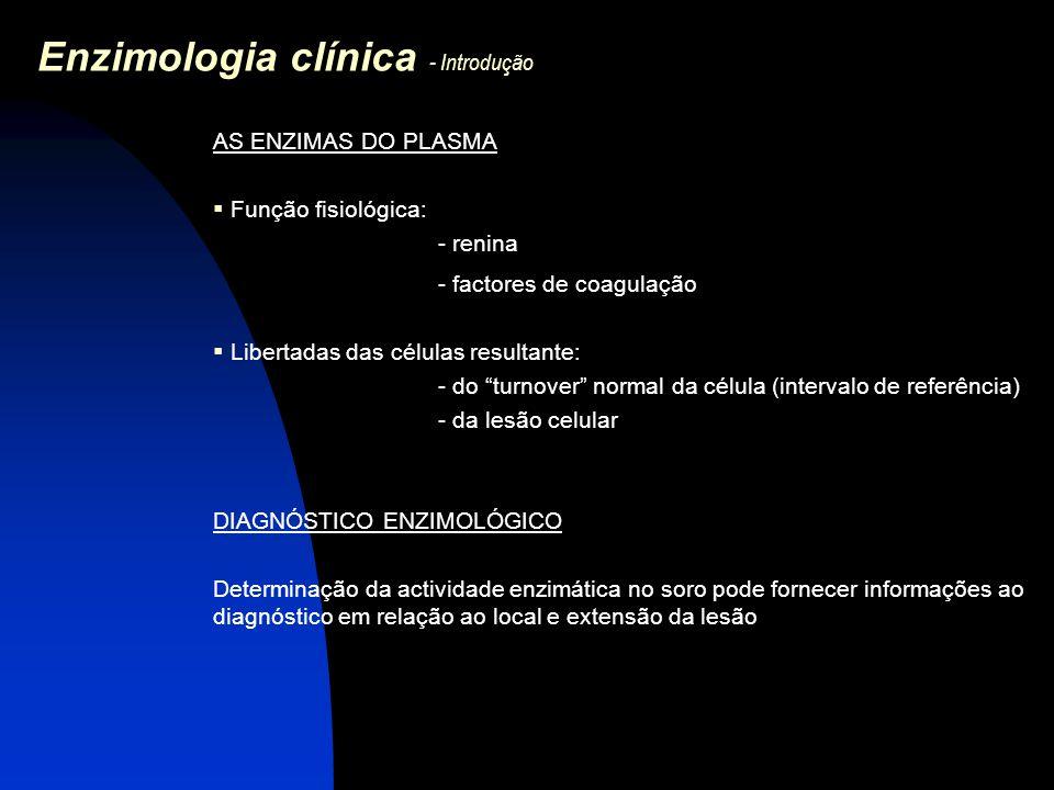Enzimologia clínica - Introdução AS ENZIMAS DO PLASMA  Função fisiológica: - renina - factores de coagulação  Libertadas das células resultante: - d