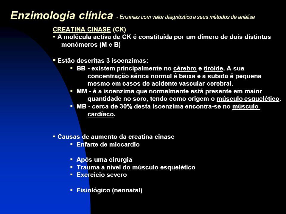Enzimologia clínica - Enzimas com valor diagnóstico e seus métodos de análise CREATINA CINASE (CK)  A molécula activa de CK é constituída por um díme