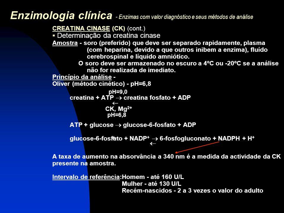 Enzimologia clínica - Enzimas com valor diagnóstico e seus métodos de análise CREATINA CINASE (CK) (cont.)  Determinação da creatina cinase Amostra -