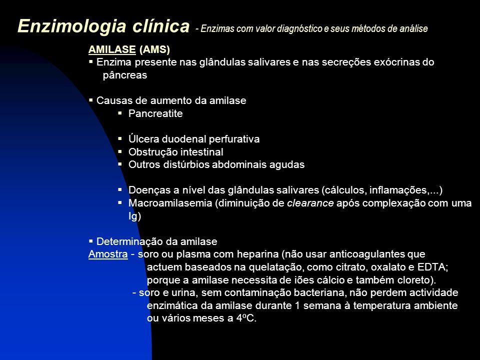 Enzimologia clínica - Enzimas com valor diagnóstico e seus métodos de análise AMILASE (AMS)  Enzima presente nas glândulas salivares e nas secreções