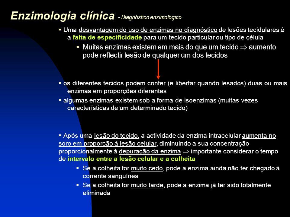 Enzimologia clínica - Diagnóstico enzimológico  Tempos médios de vida no plasma de algumas enzimas de uso corrente no diagnóstico: GOT 17  5 horas GPT 47  10 horas LDH 1 (HBDH) 113  60 horas LDH 5 10  2 horas CKAprox.