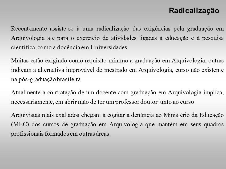 Recentemente assiste-se à uma radicalização das exigências pela graduação em Arquivologia até para o exercício de atividades ligadas à educação e à pesquisa científica, como a docência em Universidades.