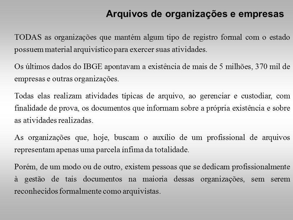 TODAS as organizações que mantém algum tipo de registro formal com o estado possuem material arquivístico para exercer suas atividades. Os últimos dad
