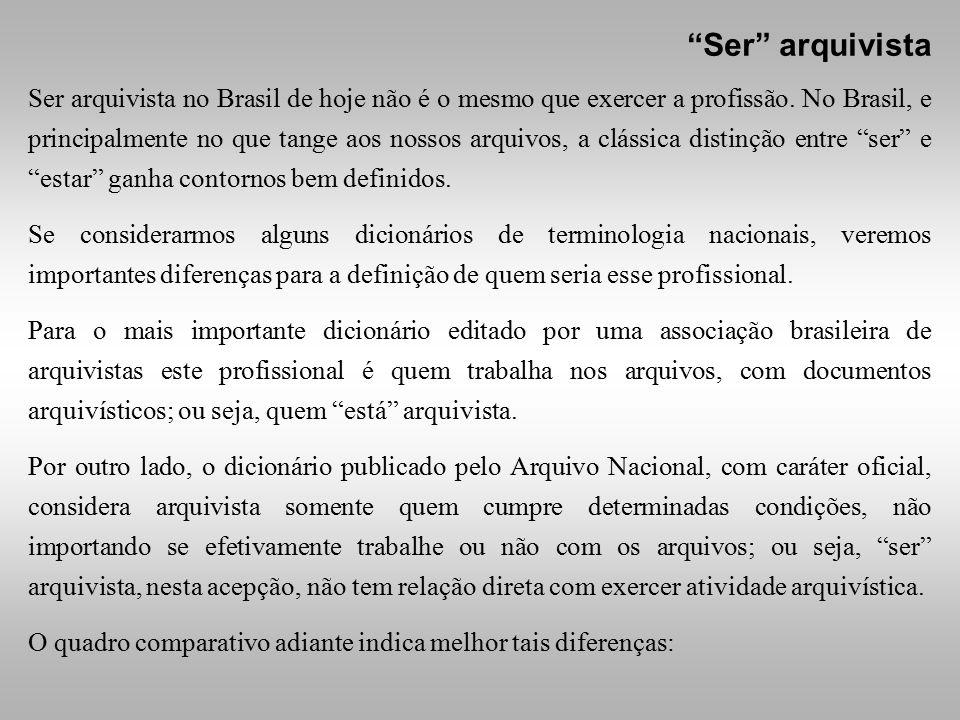 Ser arquivista no Brasil de hoje não é o mesmo que exercer a profissão. No Brasil, e principalmente no que tange aos nossos arquivos, a clássica disti