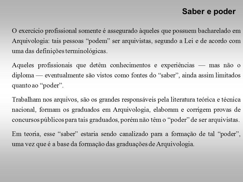 O exercício profissional somente é assegurado àqueles que possuem bacharelado em Arquivologia: tais pessoas podem ser arquivistas, segundo a Lei e de acordo com uma das definições terminológicas.